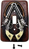 Western Star Light Switches - Western Rustic Double Pistols Rope Star single switch plate