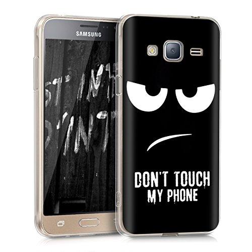 kwmobile Hülle kompatibel mit Samsung Galaxy J3 (2016) DUOS - Handyhülle - Handy Case Don't Touch My Phone Weiß Schwarz