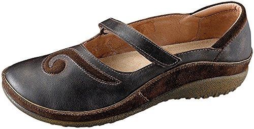 Naot Footwear Women's Matai Maryjane Black Pearl Lthr/Hash Suede 8 M US