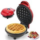 Punvot Mini Waffle Maker Waffle Piastra per Waffle Macchina Per Waffle Elettrica Antiaderente Cialdiera Machina per Waffle Macchina per sandwich Waffle Muffin Ciambella Acciaio Inossidabile Rosso