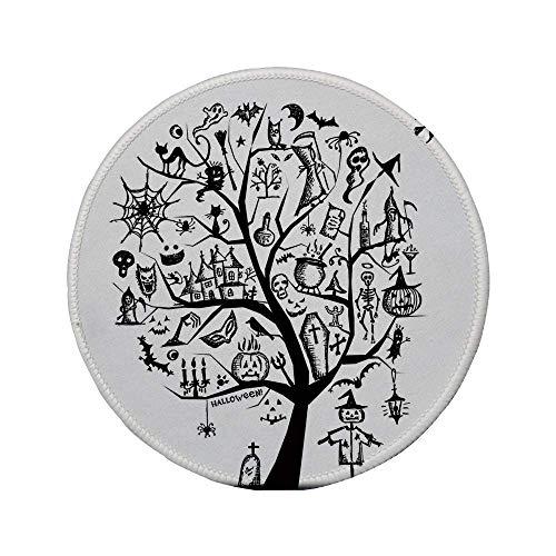 Rutschfreies Gummi-rundes Mauspad Halloween-Dekorationen skizzenhafter gruseliger Baum mit gruseligen Dekorationsobjekten und böser Hexenbesen schwarz-weiß 7.9