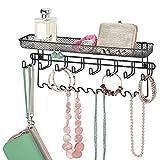 mDesign Colgador de joyas en metal – Joyero organizador, ideal para colgar collares, pendientes,...