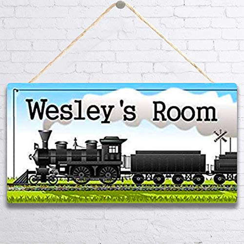 MUPIANLX Personalized Sign Kids Door, Locomotive Train Wood Plaque Sign & Customized Gift for Children, Wall Decor Gift -5x10 inches