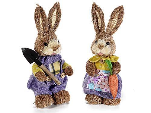 Ideapiu Pasqua, 2 Conigli Decorativi con Zappa e Carote con Orecchie modellabili