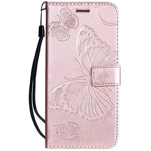 DENDICO Cover LG K40, Pelle Portafoglio Custodia per LG K40 Custodia a Libro con Funzione di appoggio e Porta Carte di cRossoito - Oro Rosa