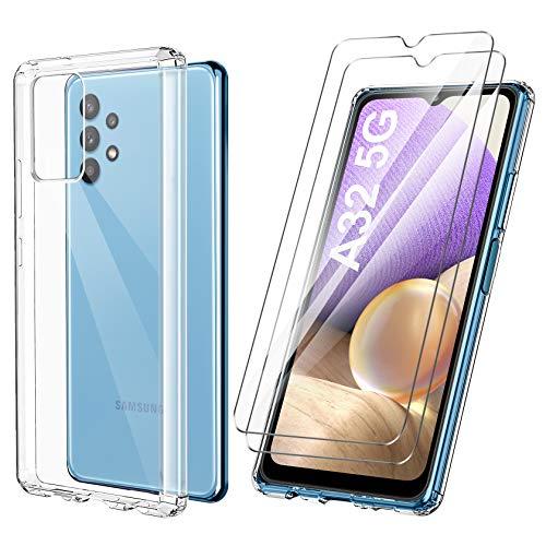 ivencase Cover Ultra Hybrid Compatibile con Samsung Galaxy A32 5G con 2 Pezzi Vetro Temperato, Anti-Ingiallimento Hard PC Retro, Paraurti Flessibile Cover Antiurto - Trasparente