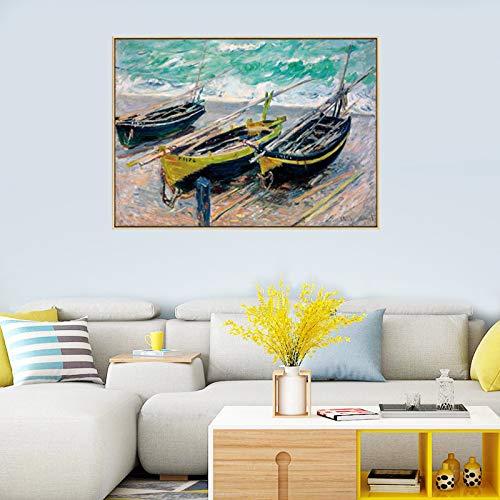 Claude Monet barco paisaje paisaje lienzo pinturas de arte de pared carteles e impresiones cuadros de pared para decoración de sala de estar 40x50 cm 16 'x 20' sin marco