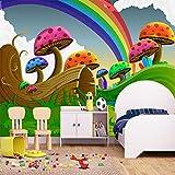 SUNNYBZ Papel Pintado De Pared 3D Dibujos Animados Arco Iris Lindo Seta 350X256 Cm Empapelado Pegatina Mural Autoadhesivo Decorativos Extraíble Impermeable Para Hogar Cocina Salón Moderna Tv Decor