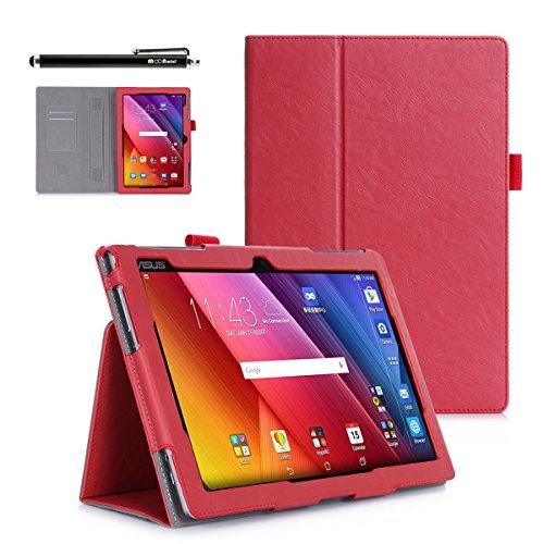 Casefashion reg; PU Cuoio Vibrazione Slot Card Cover Custodia Folio con Funzione Stand Custodia Per ASUS ZenPad 10 inch Z300C - Rosso