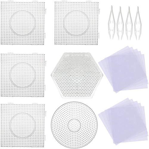 Meirrai 5 mm 6 stuks Pegboards grote sjablonen met 4 stuks witte kralen, 20 stuks strijkpapier, transparante vierkante platen voor kralen Kids Craft kralen