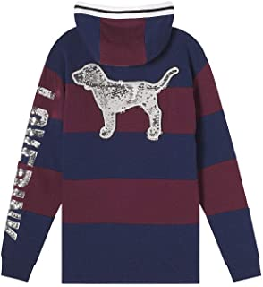 Victoria's Secret Pink Dog Campus Bling Half Zip Rugby Tunic Pullover Hoodie Large NWT Color Ensign