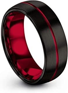 Tungsten Carbide Wedding Band Ring 8mm for Men Women Green Red Fuchsia Copper Teal Blue Purple Black Center Line Dome Black Brushed Polished