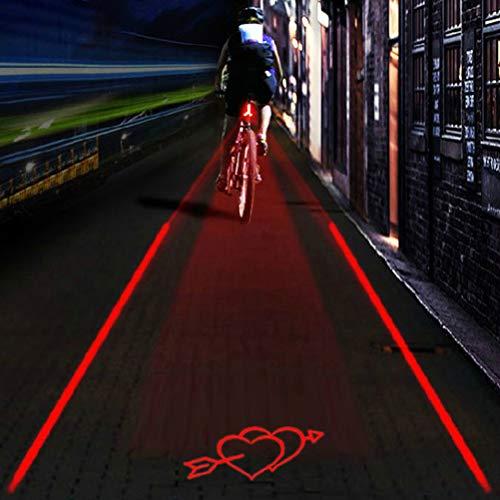 Kohyum Lámpara LED USB para bicicleta, luz trasera para bicicleta, proyección de patrones, resistente al agua, luz trasera para bicicleta de montaña