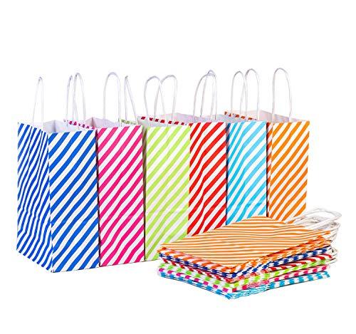 24 Stück Papiertaschen Papiertüten Partytaschen Mehrfarbig Perfekt für Kunst & Geschenktasche - Geburtstagsparty Gefälligkeiten, Kinder Party tüten, Hochzeit Gefälligkeiten und Feiern (Straip)