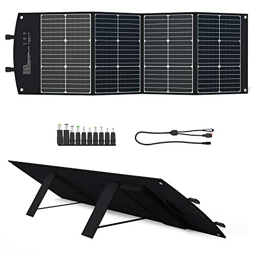 Panel Solar Portátil 120W Cargador Solar Plegable ELECAENTA Monocristalino Impermeable con DC Tipo C PD45W QC3,0 USB-A para Generador Power Station Tableta Camping Caravanas
