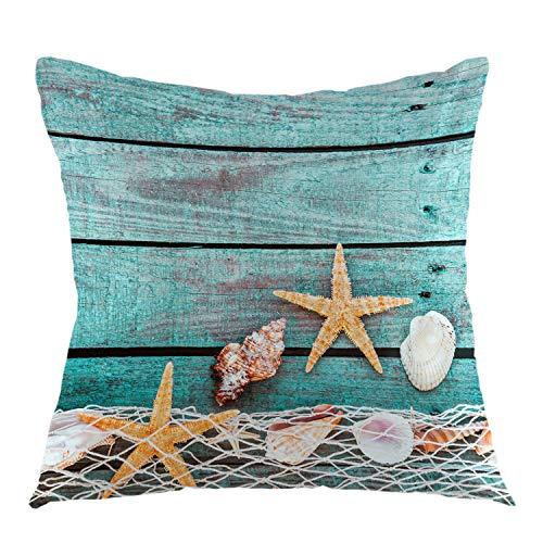Funda de almohada decorativa de madera rústica para sofá, sofá, hogar, coche, dormitorio, sala de estar, 45,7 x 45,7 cm, color amarillo turquesa