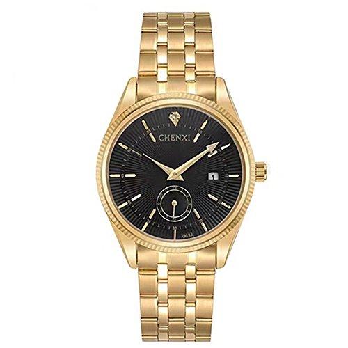 CHENXI Herren Analog Quarzwerk Uhr mit Edelstahl Armband Wasserdicht 069A Schwarz