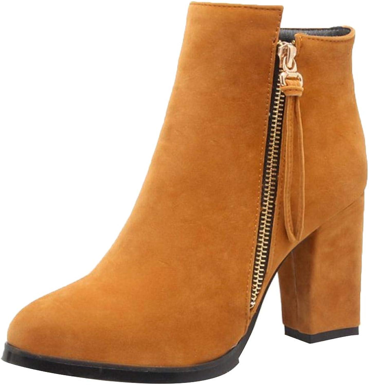 KemeKiss Women Zipper Short Boots Pointed Toe