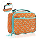 MIER Kids Insulated Lunch Box Bag Small Cooler Lunch Bag for Boys, Girls, Can Clip onto Backpack, Tote, Strollers, Orange