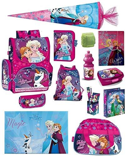 Disney die Eiskönigin Schulranzen-Set 18tlg. Sporttasche Regenschutz Schultüte 85cm Frozen PL pink für Mädchen