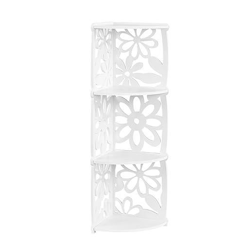 Finether 3-Tier Etagère d'angle Etagère de Rangement Bibliothèque Meuble de Rangement WPC Bois- Plastique Etagère Livres Meuble Stockage SGS Certifié (22 cm W x 22 cm D x 82 cm H), Blanc