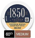 1850 by Folgers Coffee Pioneer Blend Medium Roast Coffee, 60 K Cups for Keurig Coffee Makers