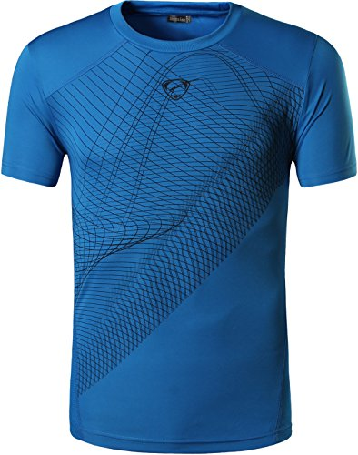 jeansian Hombres Verano Deportes Wicking Transpirable Quick Dry Short Sleeve T-Shirts Tops Running Training tee LSL069_Blue_S