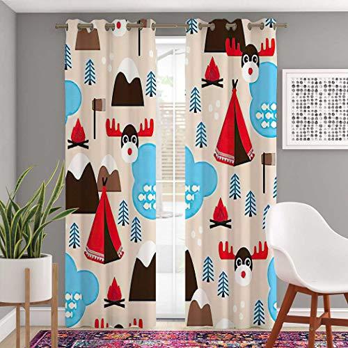 Atomack Christmas Moose Blackout Grommet Curtains 108 Inch Length, Canada Winter Wonderland Curtains 2 Panel Set for Bedroom Living Room, 104 Inch Wide