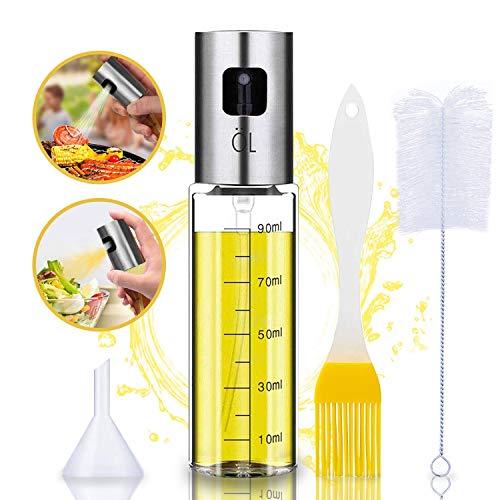 Oil Sprayer Olivenöl Sprüher zum Kochen 4 in 1 nachfüllbare Öl- und Essigspender Flasche mit Backpinsel, Flaschenbürste und Öltrichter zum Grillen, Salat Machen, Kochen, Backen, Braten, Grillen