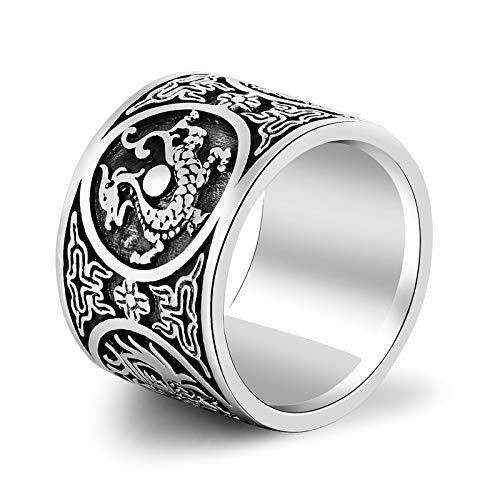 Aienid Silber Ring 925 Breit 4 Mythische Tiere Ring Azurblauer Drache Ring für Männer Size:60 (19.1)