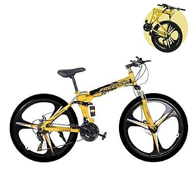 "Folding Mountain Bike for Men & Women - 26"" Outdoor Exercise Road Bikes with 21 Speed High-Carbon Steel Dual Disc Brakes Full Suspension Non-Slip (B Yellow)"