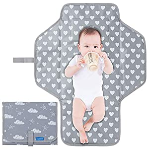Portable Baby Changing Pad Travel Kit – Diaper Changing Mat for Baby Lightweight Foldable Diaper Changing Station with Built-in Pillow, Baby Shower Registry Gift for Newborn Boy&Girls