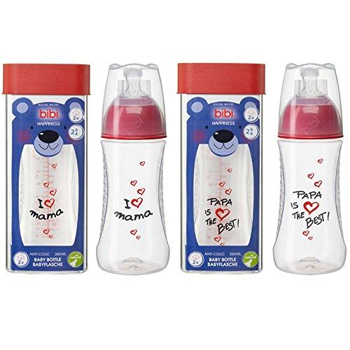 Bibi Lot de 2/bouteille en verre 240/ml avec t/étine Dental I Love Maman et Papa is the Best