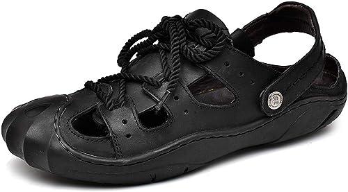 XSY2 Hommes été Pantoufles Sandales imperméable Plage Sandales Sandales Sport en Plein air pêcheur Plage Velcro Chaussures de randonnée,A,38  est réduit