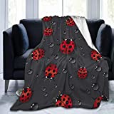 KiuLoam Ladybug Raindrop Soft Throw Blanket 40'x50' Lightweight Flannel Fleece Blanket for Living Room Bedroom Sofa Couch Warm and Cozy