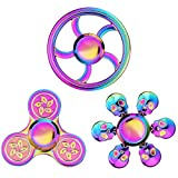 Cool Fidget Spinners Pack Metal Toys Set, Rainbow Finger Hand Spinners for Kids Adults, Anti Anxiety Stress Relief Focus Decompression Toys, Fingertip Gyro Mini Novelty Spinning Gadget Gift (3 PCS)