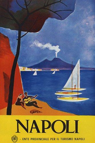 NAPOLI GUITAR PLAYER SAILBOAT BEACH LOVE ITALY ITALIA ITALIAN VINTAGE POSTER REPRO