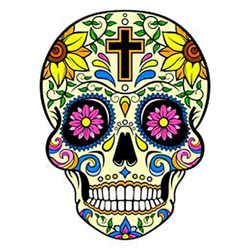 Sunflower 6 Sheets Temporary Tattoos For Men Adults Yellow Sugar Skull with a Cross Sunflowers and Day of the Dead Vect Temporary tattoo For Women Neck Arm Chest For Woman 3.7 X 3.7 Inch