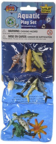 Wild Republic Triple Mini Ocean Polybag Play Set Sealife Aquatic Figurines Toy