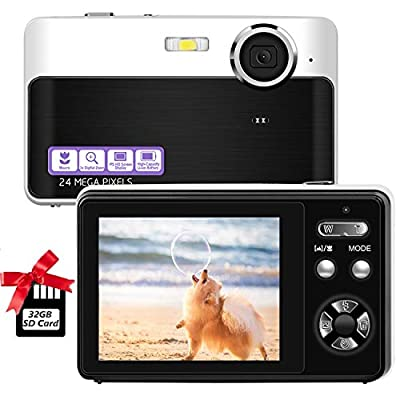 Digital Camera,2.4 Inch LCD Screen,24MP Point and Shoot Camera with 32GB Micro SD Card,Mini Digital Camera,Screen Camera,Cameras for Beginners from CEDITA