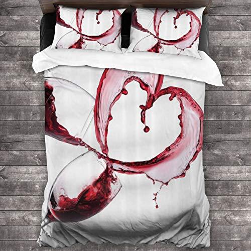 LiBei Set Copripiumino 3 Pezzi,Forma del Cuore con rovesciamento del Vino Rosso nel Concetto Romantico di Giorno di Biglietti di S. Valentino di Vetro- Copripiumino e 2 Federa (Singolo 135x210cm)