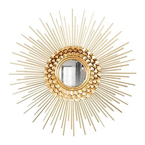 Espejo De Pared Dorado con Forma De Rayos De Sol, Espejo De Sol Redondo, Decoración Artística, Espejo Colgante De Pared De Metal Clásico, Regalo De Inauguración De La Casa, 90 * 90 Cm