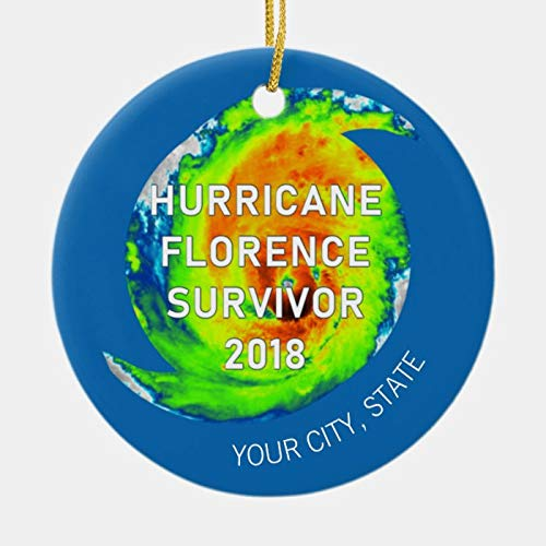 Personalised 2020 Hurricane Florence Survivor City And State Ornament for Christmas Decor, Customized Any Name And Date 3' Ceramic Ornament