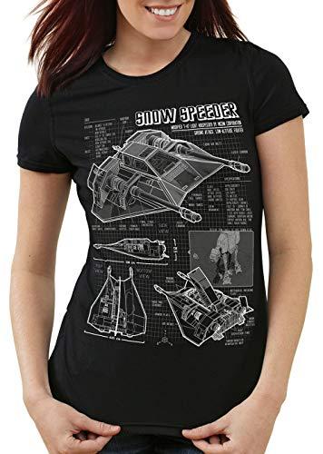 style3 Aerodeslizador T-47 Camiseta para Mujer T-Shirt Fotocalco Azul hoth Snow Speeder, Color:Negro, Talla:XL