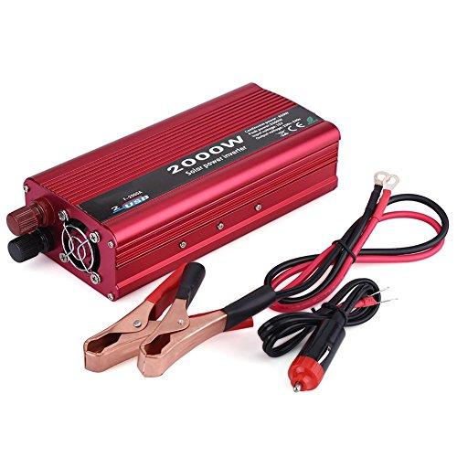 Auto Wechselrichter, AC Auto Wechselrichter Konverter 2000W DC 12V zu AC 230V Auto Wechselrichter Konverter Dual USB Charger Adapter