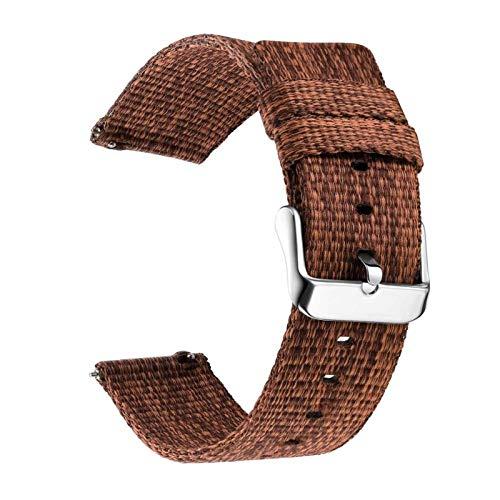 Nylon 18mm 20 mm 22mm reloj de reloj para Samsung Galaxy Watch 46mm 42mm Gear S3 S2 Sport Watch Strap Reemplazo 1033 (Band Color : Brown, Band Width : 18mm)