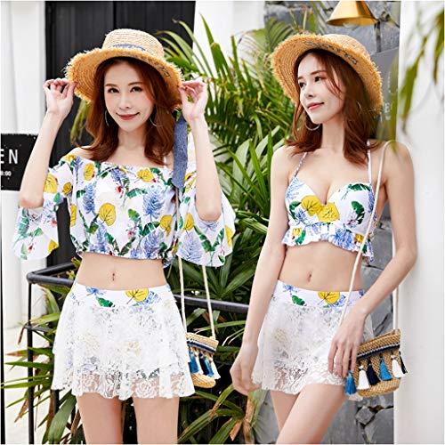 Swimsuits HAODAMAI Set Swimwear Female Three-Piece Set Lovely Split Spa Slim Sleeve Summer Skirt Student (Color : Green, Size : M)