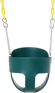 مقعد أرجوحة للأطفال عالي التحمل بظهر كامل مع سلاسل أرجوحة مطلية مجمعة بالكامل