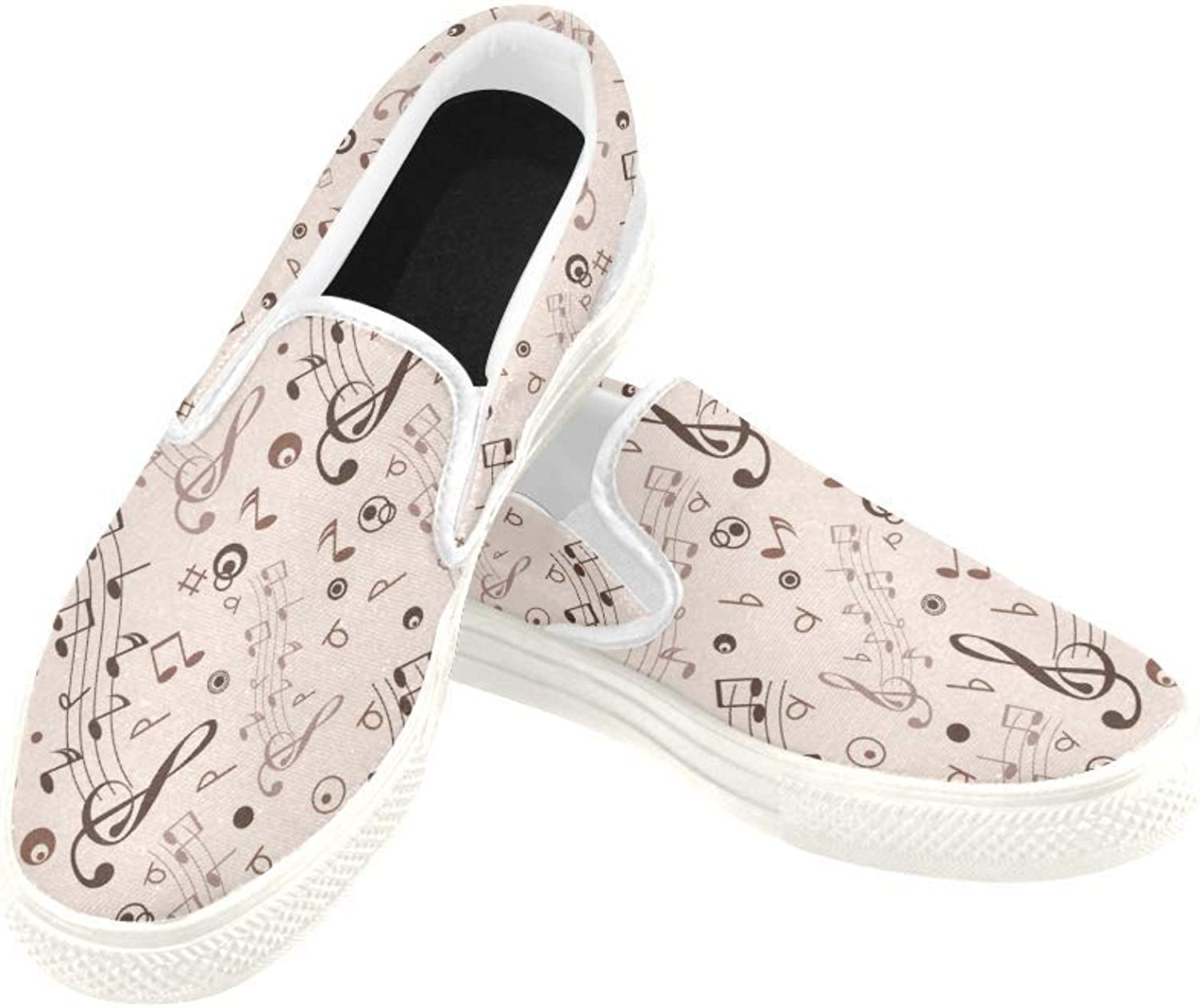 InterestPrint Womens Slip On Canvas shoes Loafers Musical Notes Girls Classic Casual Sneakers Flats
