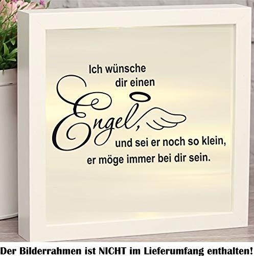 myrockshirt Schöner Spruch Ich wünsche dir einen Engel… ca 20cm mit Engelsflügeln & Heiligenschein Aufkleber für Bilderrahmen Beleuchtet Leuchten Dekokasten